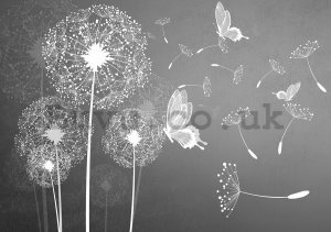 Vlies wall mural : Dandelions and butterflies - 184x254 cm