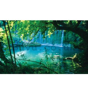 Wall mural vlies: Lake and waterfall - 254x368 cm