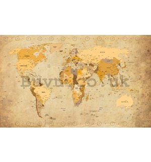 Vlies wall mural : Map of the world (Vintage) - 184x254 cm