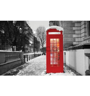 Wall Mural: London (winter phone booth) - 184x254 cm