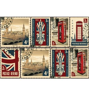 Wall Mural: Postage Stamps United Kingdom - 184x254 cm