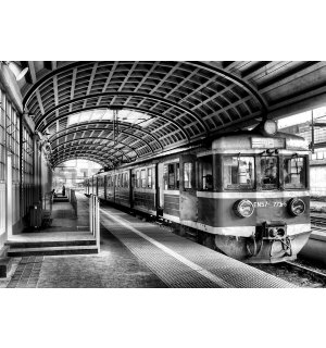 Wall Mural: Old subway (black and white) - 254x368 cm