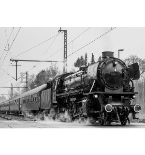 Wall Mural: Steam locomotive (black and white) - 254x368 cm