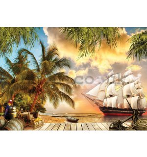 Wall Mural: Sailboat in paradise - 254x368 cm