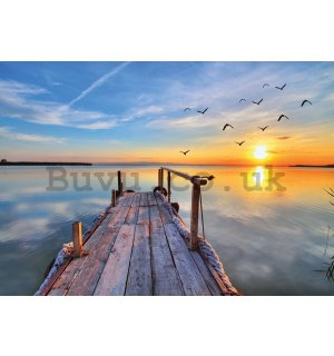 Wall Mural: A pier at sunset - 254x368 cm