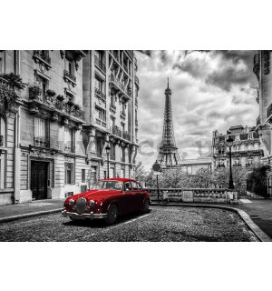 Wall Mural: Eiffel Tower and a Vintage Car - 184x254 cm