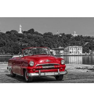 Wall Mural: Cuba, Vintage Red Car - 184x254 cm