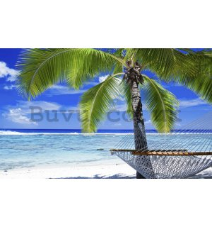 Wall Mural: Beach with hammock - 184x254 cm