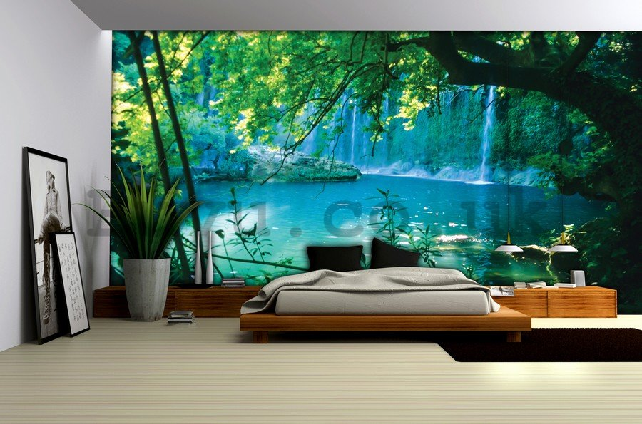 Wall mural vlies: Lake and waterfall - 104x152,5 cm