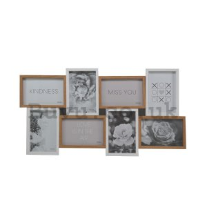 Photo frame - 8 windows, 10x15 cm (white and natural colour)
