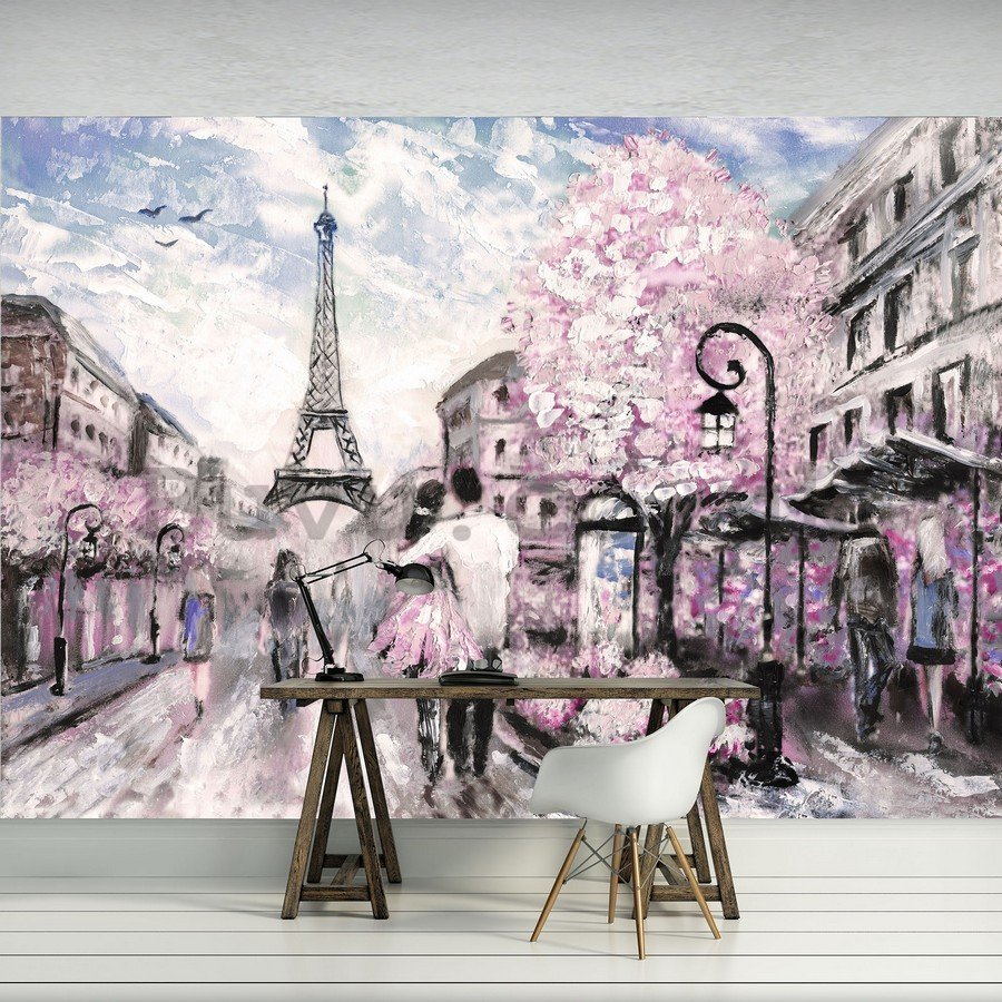 Wall mural vlies: Paris (painted) - 184x254 cm