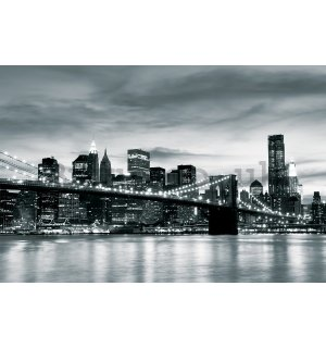 Wall mural vlies: Black & White Brooklyn Bridge - 184x254 cm