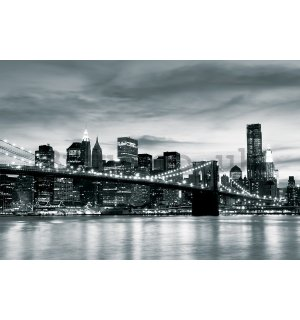 Wall mural vlies: Black & White Brooklyn Bridge - 254x368 cm