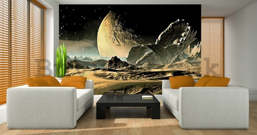 Wall mural vlies: Shipwreck on the moon - 184x254 cm