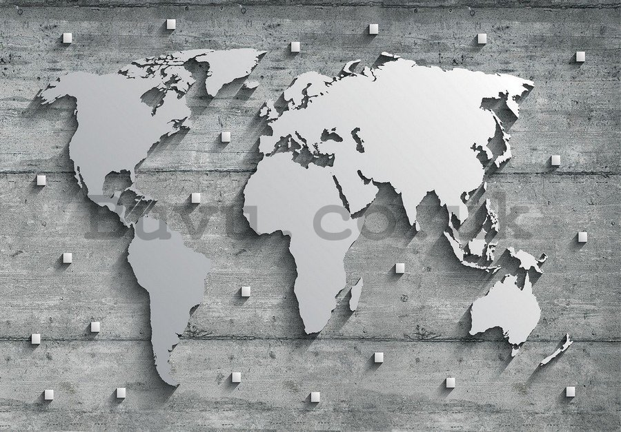 Wall mural vlies: Metal map of the world - 254x368 cm