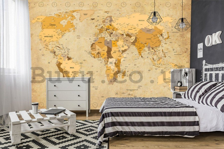 Wall mural vlies: Map of the world (Vintage) - 254x368 cm