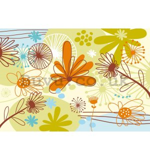 Vlies wall mural : Painted flowers - 184x254 cm