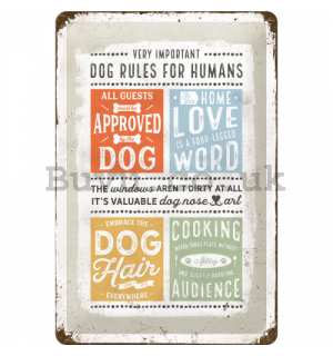 Metal sign: Dog Rules - 30x20 cm