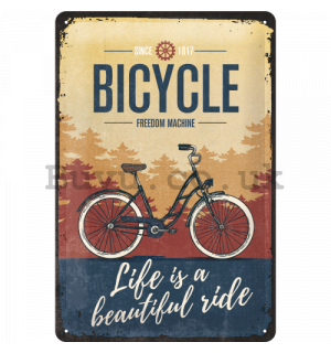 Metal sign: Bicycle (Freedom Machine) - 30x20 cm