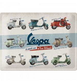 Metal sign: Vespa (A Small Car on Two Wheels) - 40x30 cm