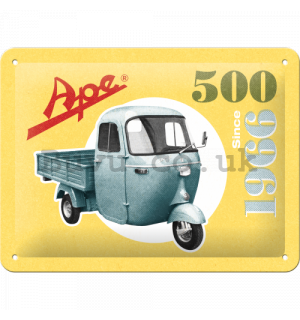 Metal sign: Ape 500 Since 1966 - 15x20 cm