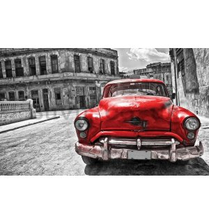 Wall mural vlies: American veteran car (red) - 254x368 cm