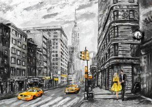Wall mural vlies: New York (painted) - 184x254 cm