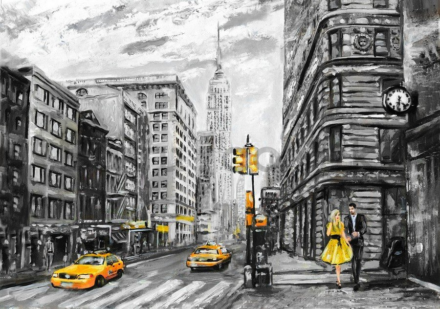 Wall mural vlies: New York (painted) - 254x368 cm