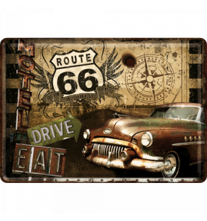 Metal postcard - Route 66 (Drive, Eat)
