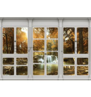 Wall mural vlies: Autumn waterfall (window view) - 184x254 cm