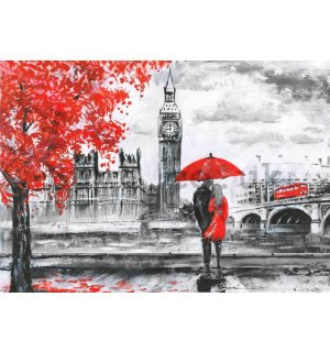 Wall mural vlies: London (painted) - 184x254 cm