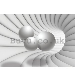 Wall mural vlies: 3D tunnel (white) - 254x368 cm