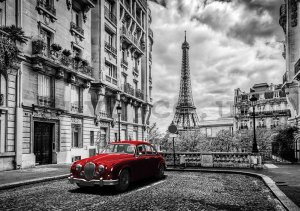 Wall mural vlies: Eiffel Tower and a Vintage Car - 254x368 cm