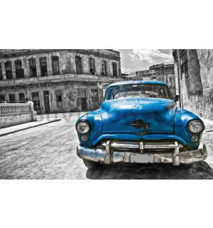 Wall mural vlies: American veteran car (blue) - 254x368 cm