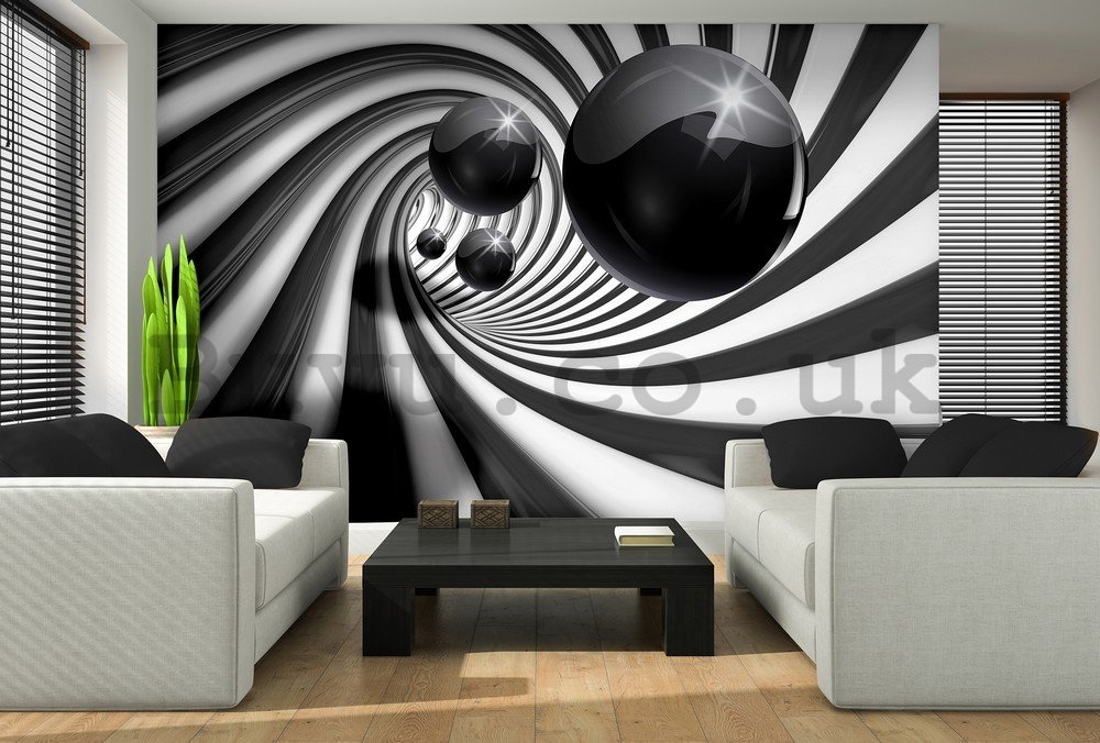 Wall mural: Black marbles and spiral - 104x152,5 cm