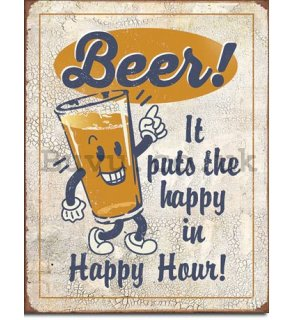 Metal sign - Beer! Happy Hour!