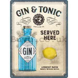 Metal sign: Gin & Tonic Served Here - 40x30 cm