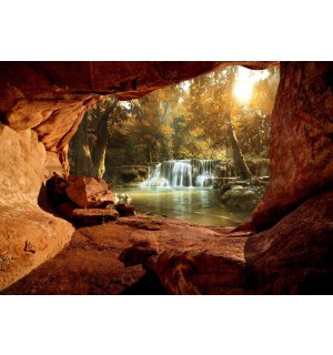 Wall mural vlies: Forest waterfalls (2) - 254x368 cm