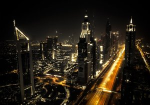 Wall mural vlies: Dubai at Night (1) - 184x254 cm