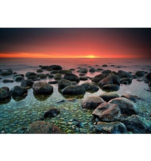 Wall mural vlies: Stones on the beach (1) - 184x254 cm