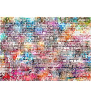 Wall mural vlies: Colourful wall (2) - 184x254 cm