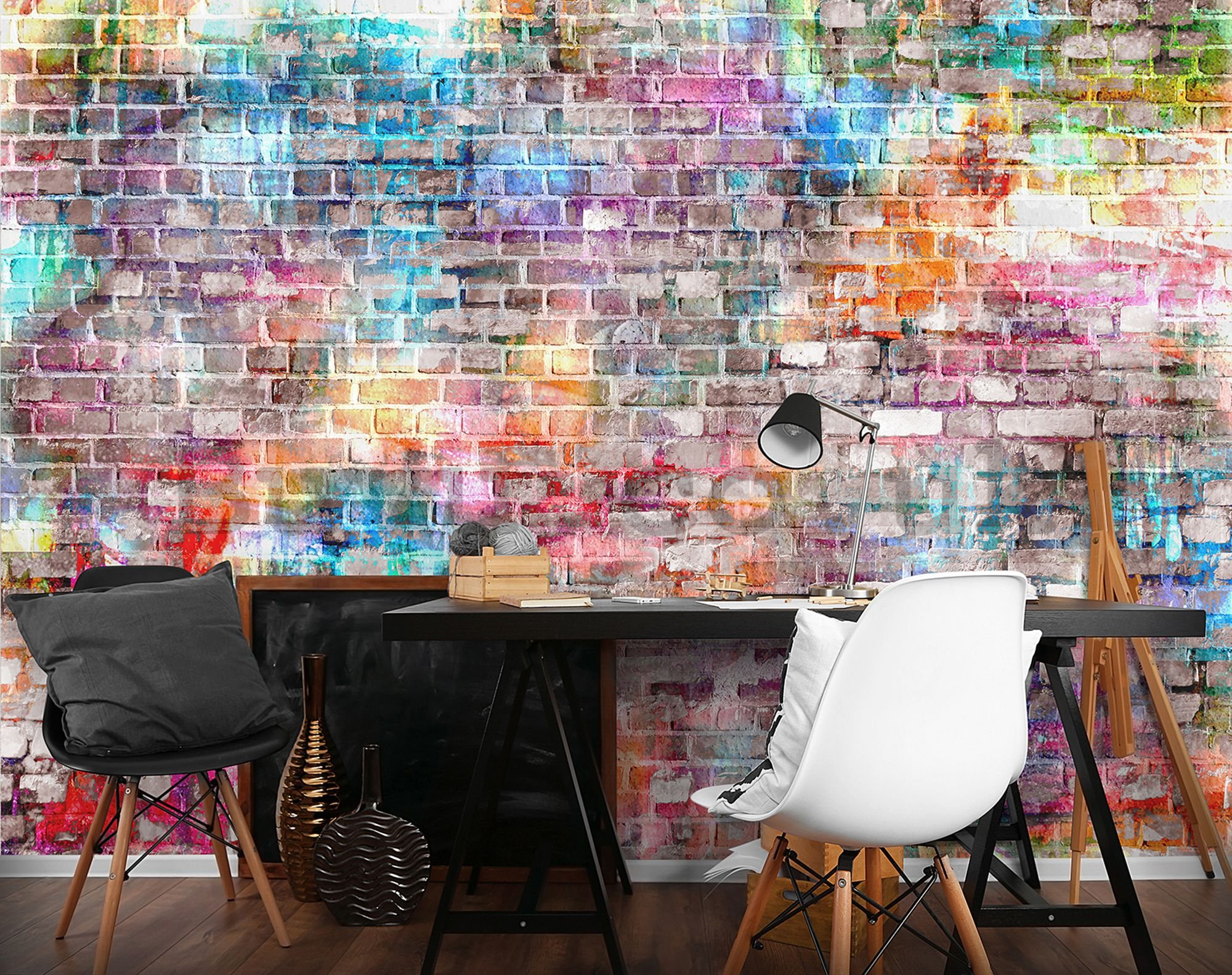 Wall mural vlies: Colourful wall (2) - 254x368 cm