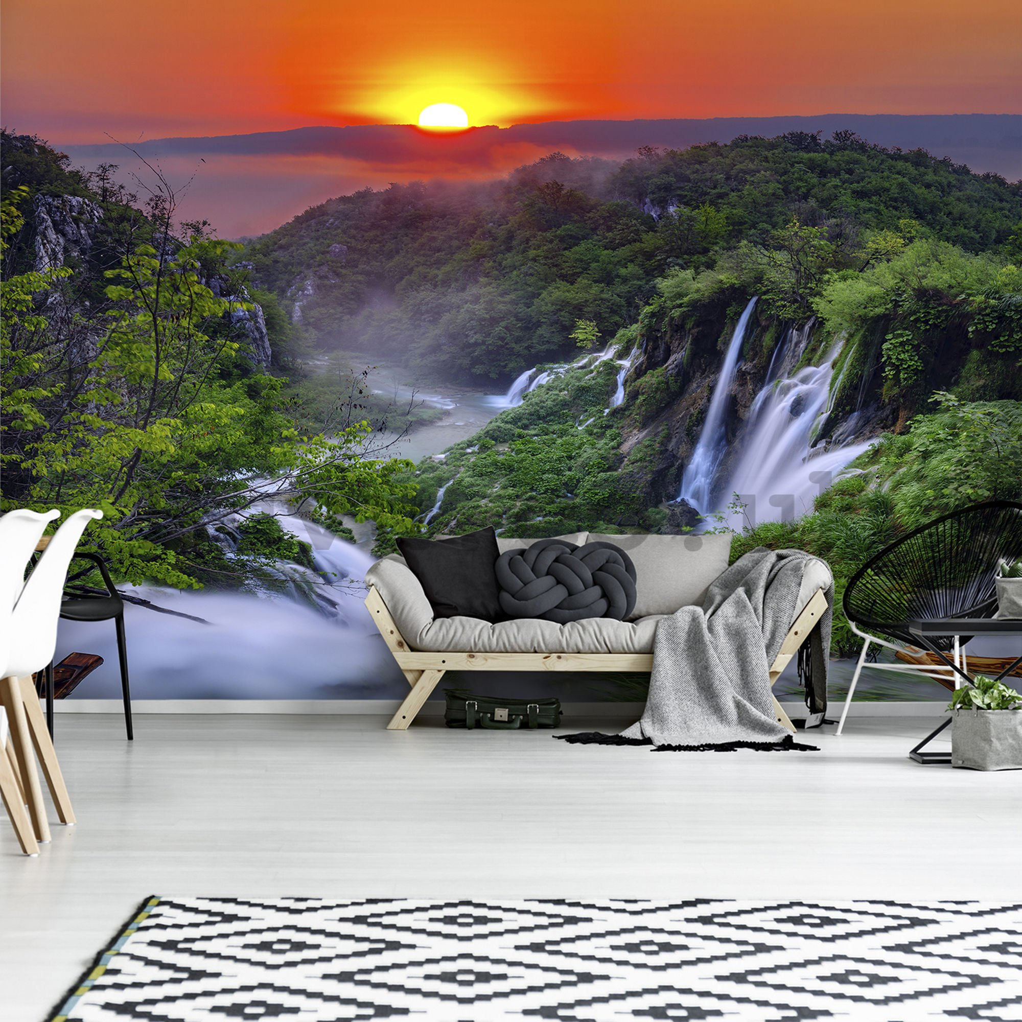 Wall mural vlies: Plitvice Lakes (sunrise) - 254x368 cm