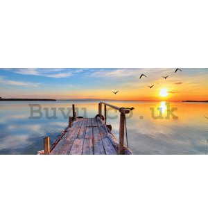 Wall mural: A pier at sunset - 104x250 cm