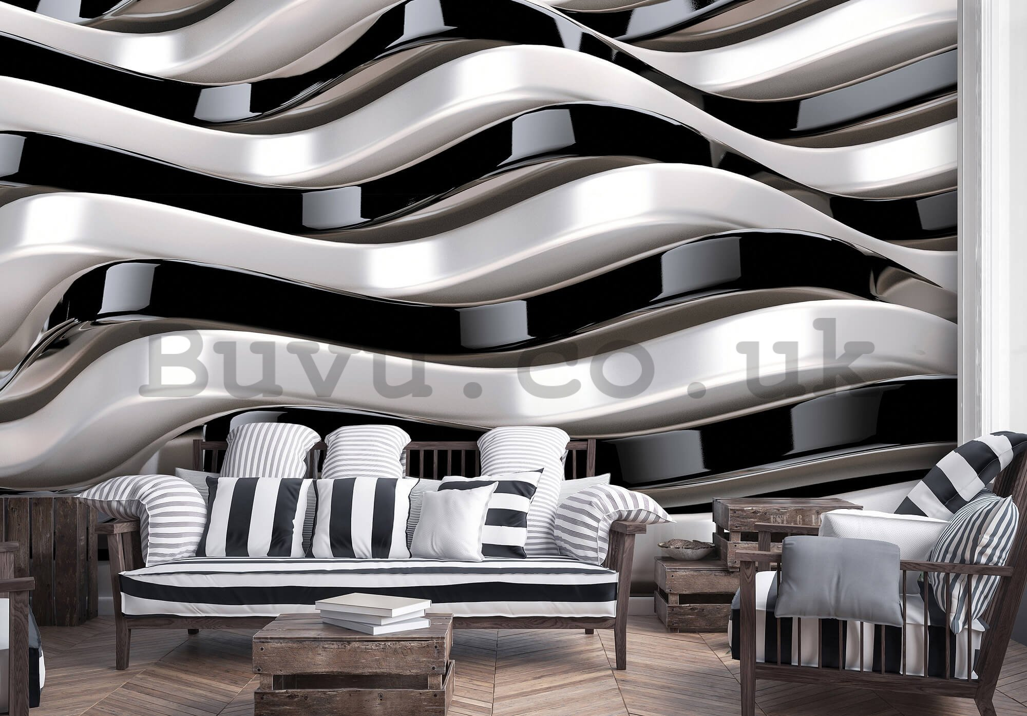 Wall mural: Wavy abstraction - 254x368 cm