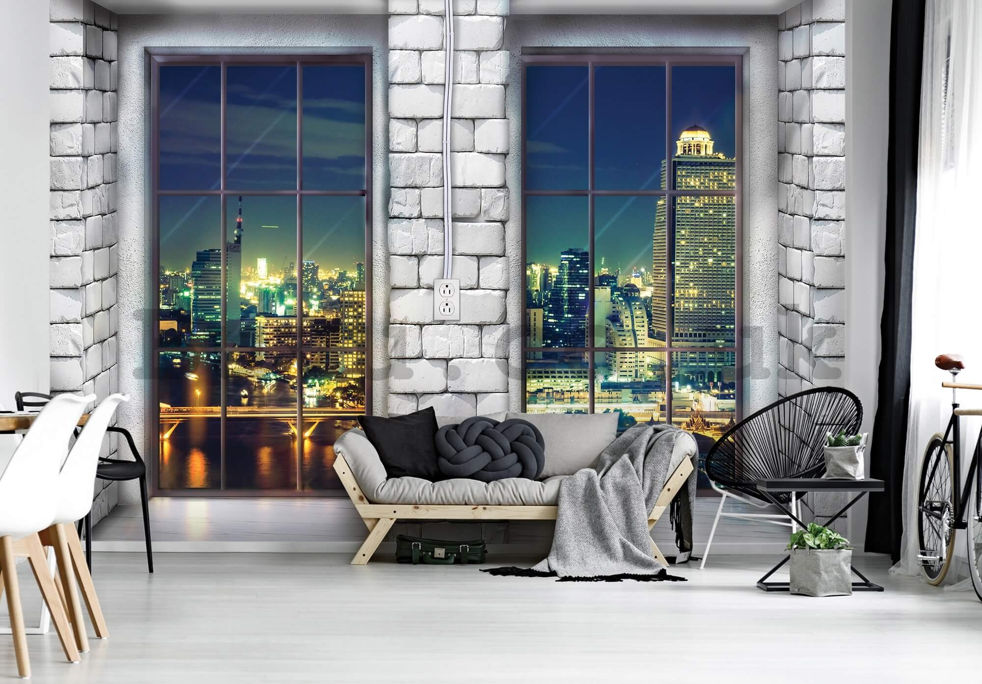 Wall mural vlies: Window to city (1) - 184x254 cm
