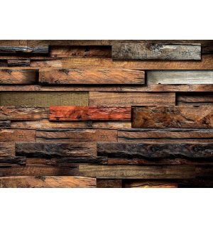 Wall mural vlies: Wooden wall (2) - 184x254 cm