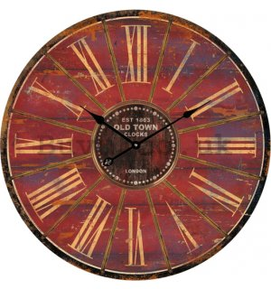 Glass wall clock - Old Town Clocks (Brown)