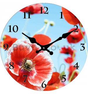 Glass wall clock - Opium poppy