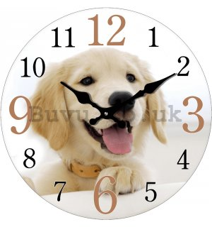 Glass wall clock - Golden Retriever